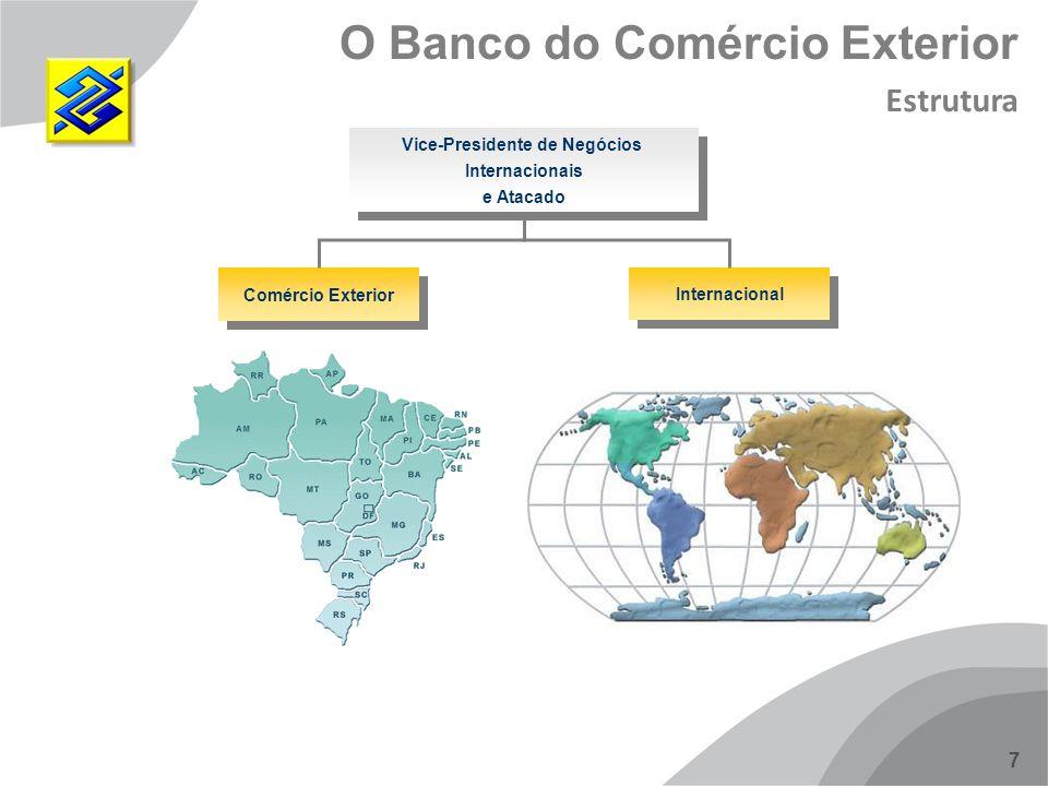 8 Maior base de clientes 53 milhões (PF + PJ) No Brasil: 5.000 agências 18 mil pontos de atendimento 45,5 mil TAA No Exterior (23 países): 15 Agências 10 Subagências 12 Escritórios 05 Subsidiárias 01 Unidade de Serviço 1500 Bancos Correspondentes O Banco do Comércio Exterior Estrutura
