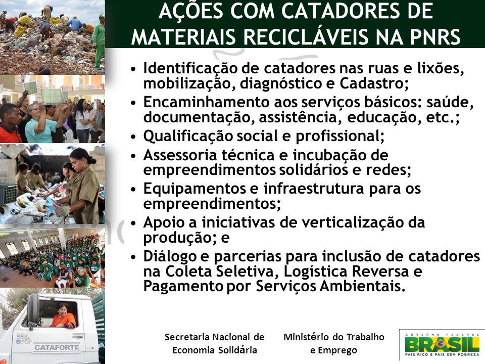 Secretaria Nacional de Economia Solid á ria Minist é rio do Trabalho e Emprego AÇÕES COM CATADORES DE MATERIAIS RECICLÁVEIS NA PNRS Identificação de c