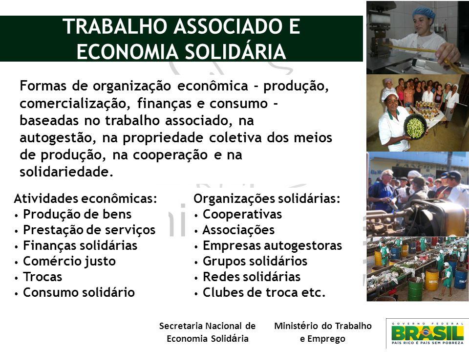 Secretaria Nacional de Economia Solid á ria Minist é rio do Trabalho e Emprego Formas de organização econômica - produção, comercialização, finanças e