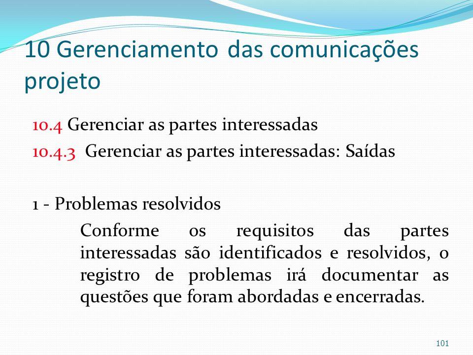 10 Gerenciamento das comunicações projeto 10.4 Gerenciar as partes interessadas 10.4.3 Gerenciar as partes interessadas: Saídas 1 - Problemas resolvid