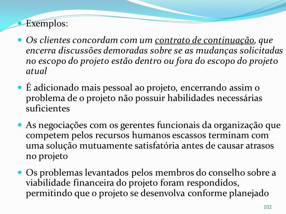 Exemplos: Os clientes concordam com um contrato de continuação, que encerra discussões demoradas sobre se as mudanças solicitadas no escopo do projeto