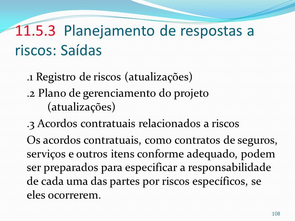 11.5.3 Planejamento de respostas a riscos: Saídas.1 Registro de riscos (atualizações).2 Plano de gerenciamento do projeto (atualizações).3 Acordos con