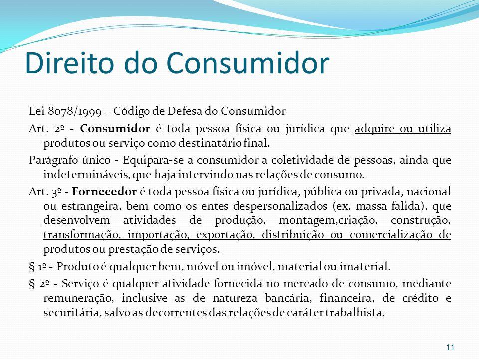 Direito do Consumidor Lei 8078/1999 – Código de Defesa do Consumidor Art. 2º - Consumidor é toda pessoa física ou jurídica que adquire ou utiliza prod