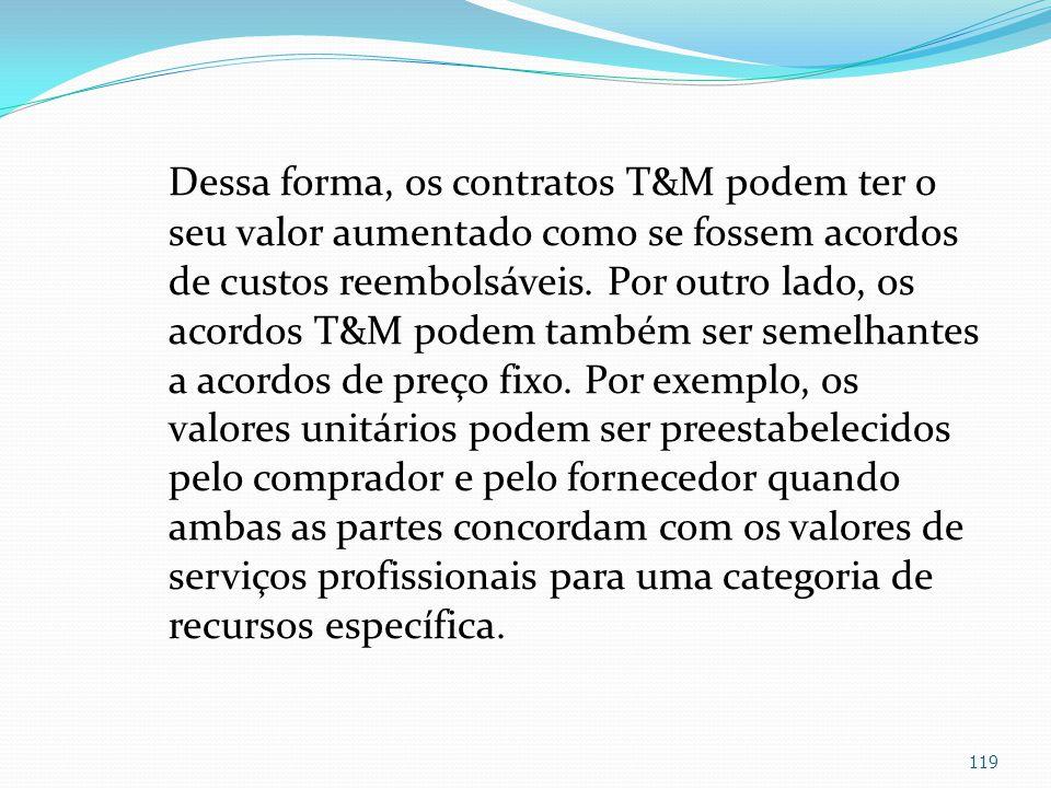Dessa forma, os contratos T&M podem ter o seu valor aumentado como se fossem acordos de custos reembolsáveis. Por outro lado, os acordos T&M podem tam