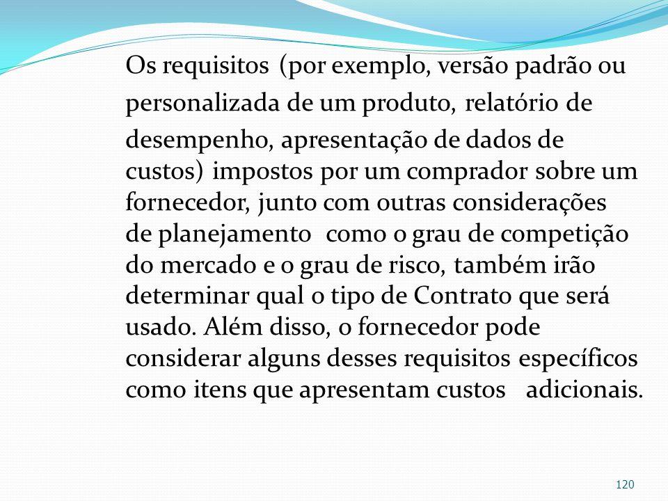 Os requisitos (por exemplo, versão padrão ou personalizada de um produto, relatório de desempenho, apresentação de dados de custos) impostos por um co