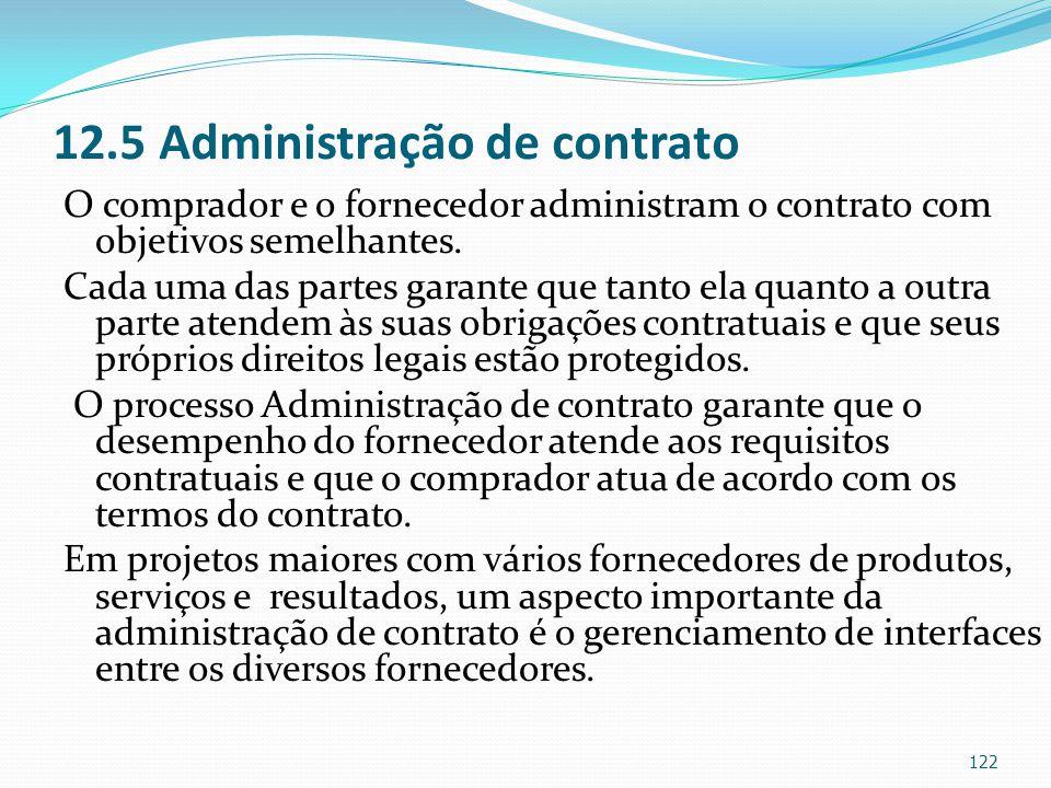 12.5 Administração de contrato O comprador e o fornecedor administram o contrato com objetivos semelhantes. Cada uma das partes garante que tanto ela