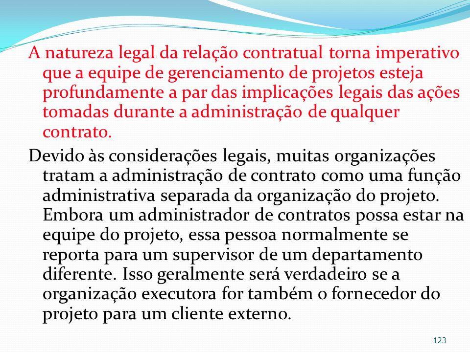 A natureza legal da relação contratual torna imperativo que a equipe de gerenciamento de projetos esteja profundamente a par das implicações legais da