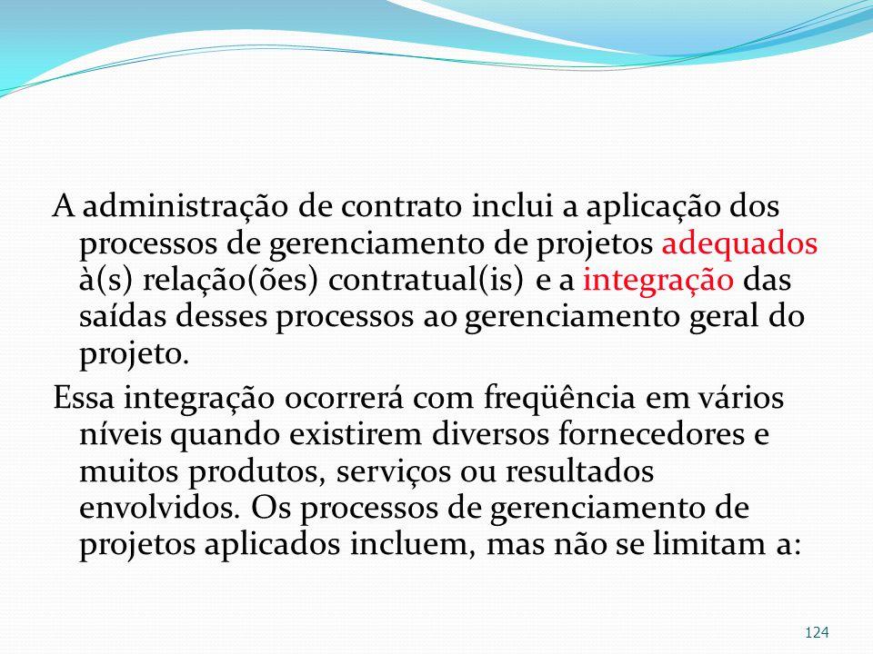 A administração de contrato inclui a aplicação dos processos de gerenciamento de projetos adequados à(s) relação(ões) contratual(is) e a integração da