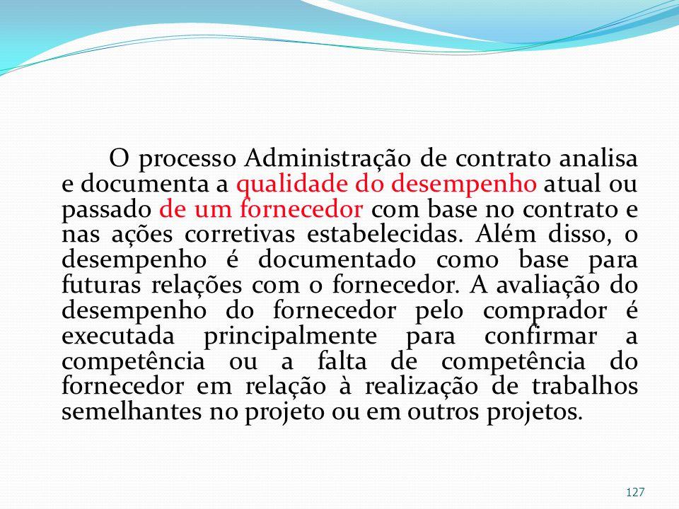 O processo Administração de contrato analisa e documenta a qualidade do desempenho atual ou passado de um fornecedor com base no contrato e nas ações