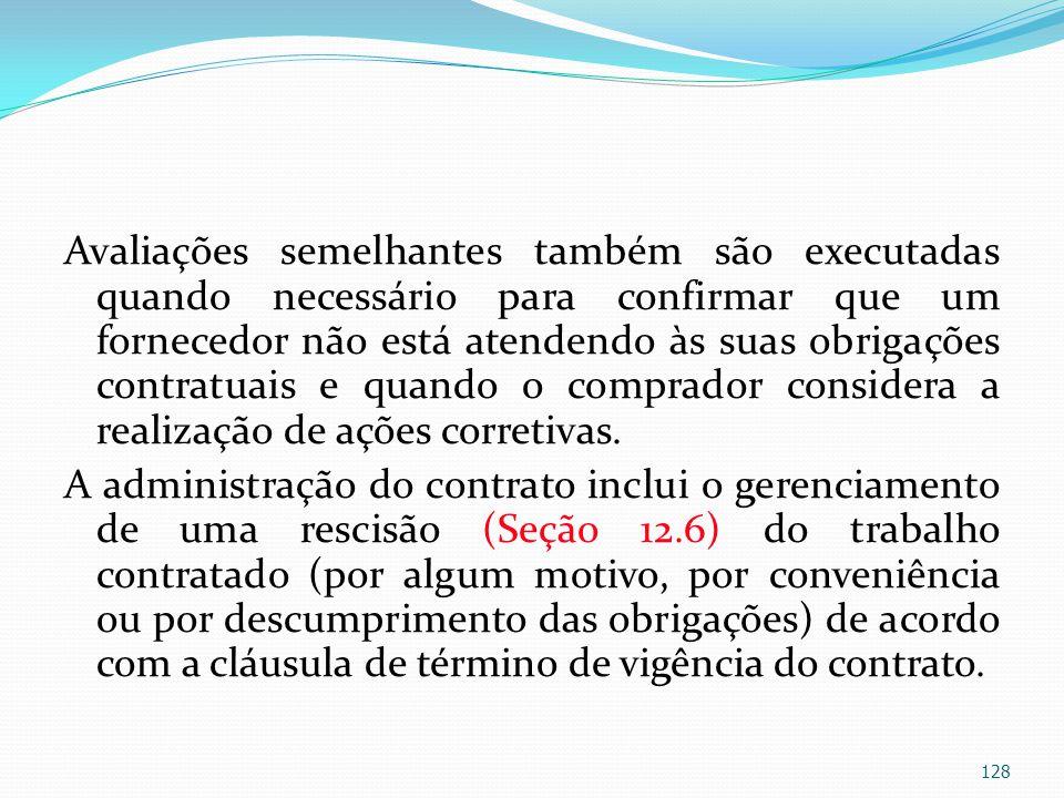 Avaliações semelhantes também são executadas quando necessário para confirmar que um fornecedor não está atendendo às suas obrigações contratuais e qu