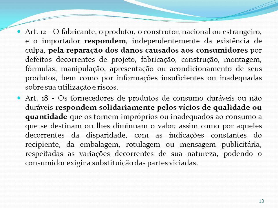 Art. 12 - O fabricante, o produtor, o construtor, nacional ou estrangeiro, e o importador respondem, independentemente da existência de culpa, pela re