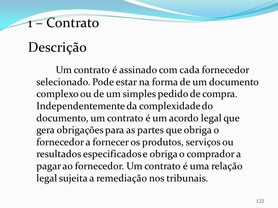 1 – Contrato Descrição Um contrato é assinado com cada fornecedor selecionado. Pode estar na forma de um documento complexo ou de um simples pedido de