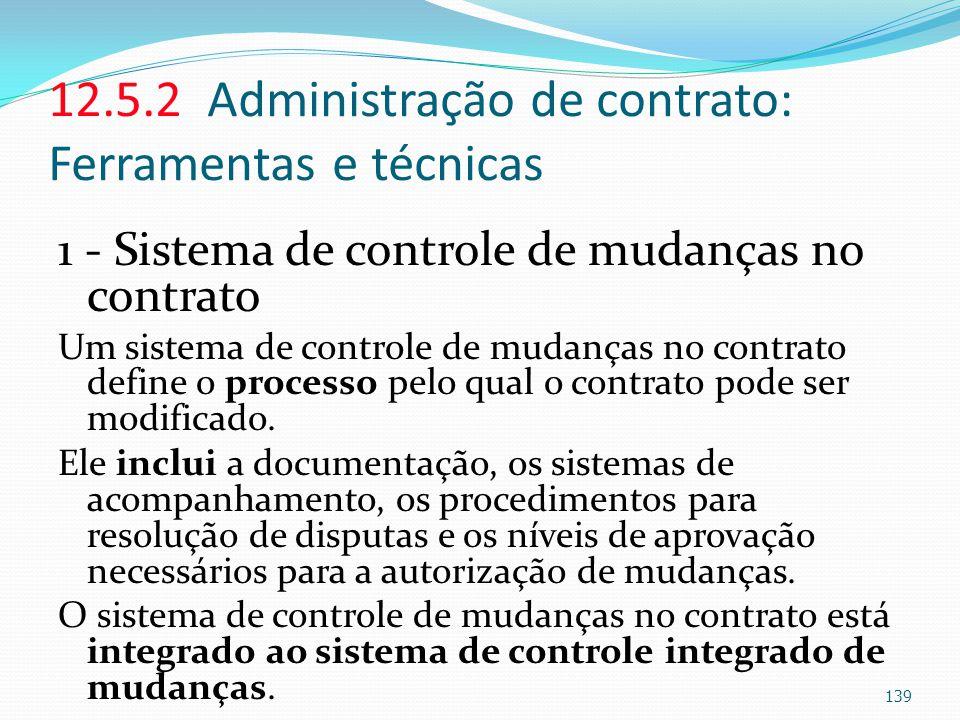12.5.2 Administração de contrato: Ferramentas e técnicas 1 - Sistema de controle de mudanças no contrato Um sistema de controle de mudanças no contrat