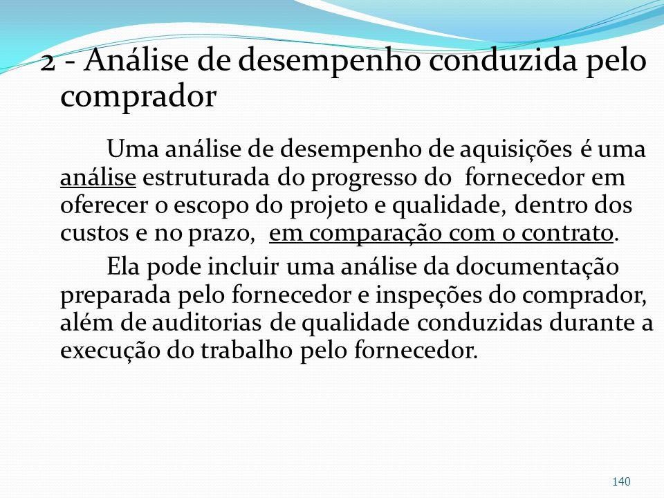 2 - Análise de desempenho conduzida pelo comprador Uma análise de desempenho de aquisições é uma análise estruturada do progresso do fornecedor em ofe