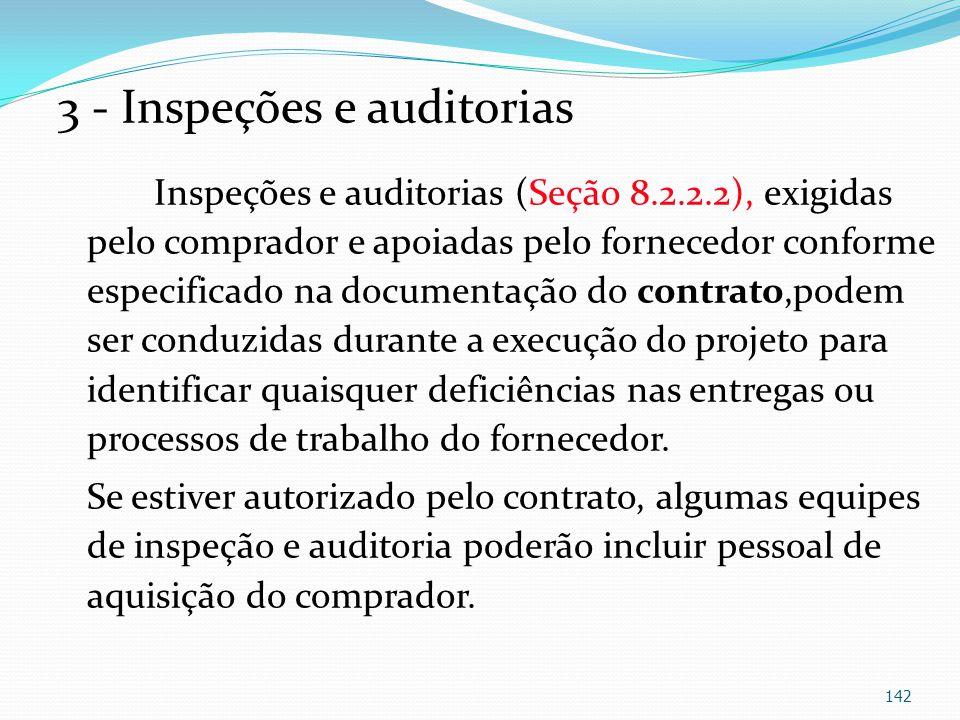 3 - Inspeções e auditorias Inspeções e auditorias (Seção 8.2.2.2), exigidas pelo comprador e apoiadas pelo fornecedor conforme especificado na documen
