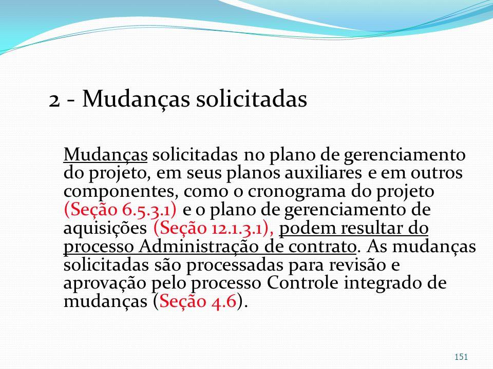 2 - Mudanças solicitadas Mudanças solicitadas no plano de gerenciamento do projeto, em seus planos auxiliares e em outros componentes, como o cronogra