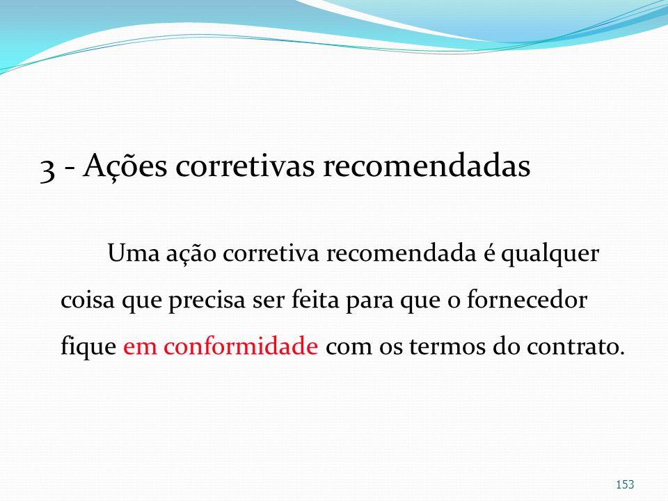 3 - Ações corretivas recomendadas Uma ação corretiva recomendada é qualquer coisa que precisa ser feita para que o fornecedor fique em conformidade co