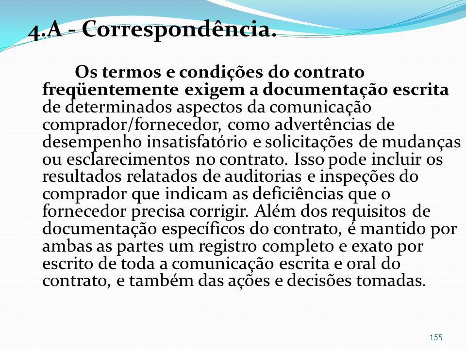 4.A - Correspondência. Os termos e condições do contrato freqüentemente exigem a documentação escrita de determinados aspectos da comunicação comprado