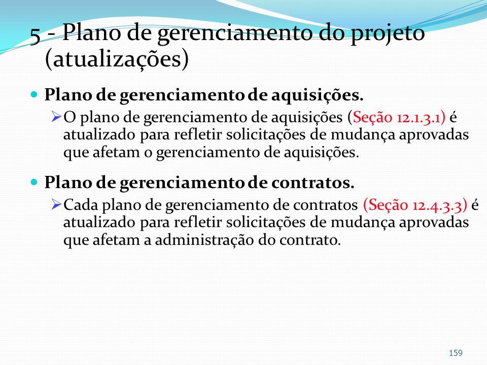 5 - Plano de gerenciamento do projeto (atualizações) Plano de gerenciamento de aquisições. O plano de gerenciamento de aquisições (Seção 12.1.3.1) é a