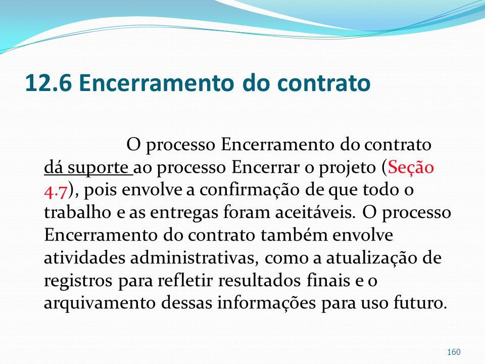 12.6 Encerramento do contrato O processo Encerramento do contrato dá suporte ao processo Encerrar o projeto (Seção 4.7), pois envolve a confirmação de
