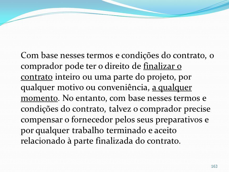 Com base nesses termos e condições do contrato, o comprador pode ter o direito de finalizar o contrato inteiro ou uma parte do projeto, por qualquer m