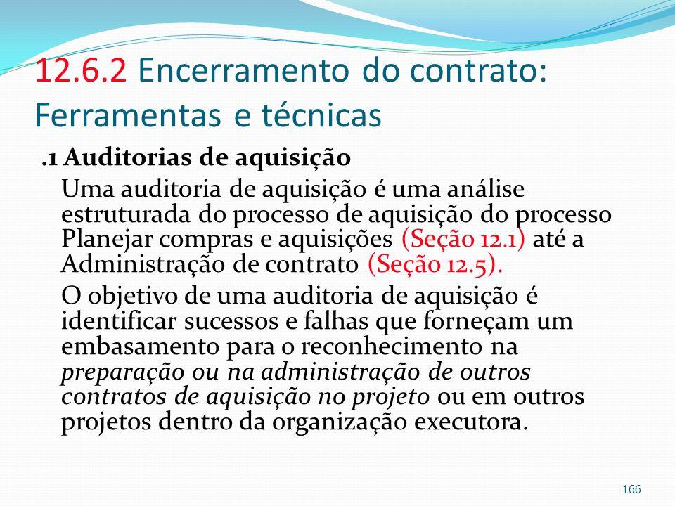 12.6.2 Encerramento do contrato: Ferramentas e técnicas.1 Auditorias de aquisição Uma auditoria de aquisição é uma análise estruturada do processo de