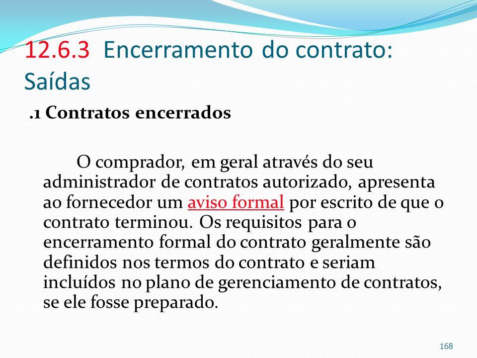 12.6.3 Encerramento do contrato: Saídas.1 Contratos encerrados O comprador, em geral através do seu administrador de contratos autorizado, apresenta a