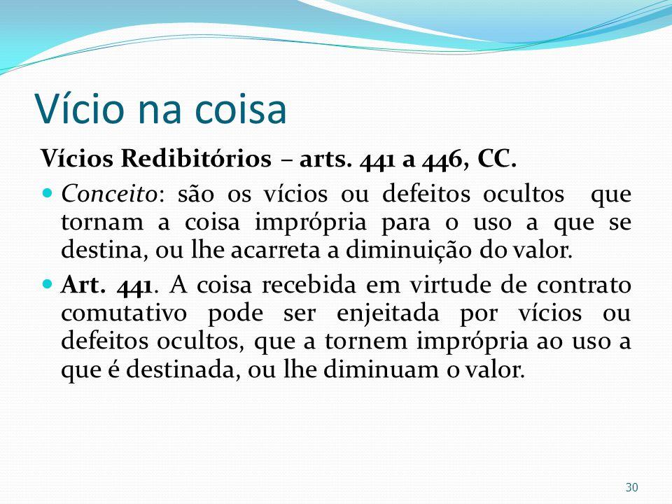 Vício na coisa Vícios Redibitórios – arts. 441 a 446, CC. Conceito: são os vícios ou defeitos ocultos que tornam a coisa imprópria para o uso a que se