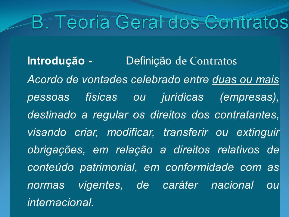 Introdução - Definição de Contratos Acordo de vontades celebrado entre duas ou mais pessoas físicas ou jurídicas (empresas), destinado a regular os di