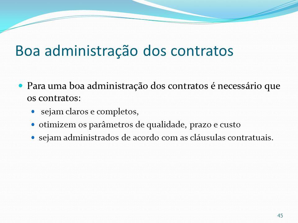Boa administração dos contratos Para uma boa administração dos contratos é necessário que os contratos: sejam claros e completos, otimizem os parâmetr