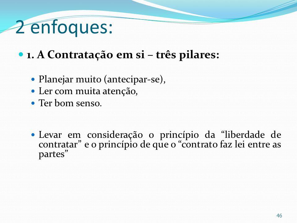 2 enfoques: 1. A Contratação em si – três pilares: Planejar muito (antecipar-se), Ler com muita atenção, Ter bom senso. Levar em consideração o princí