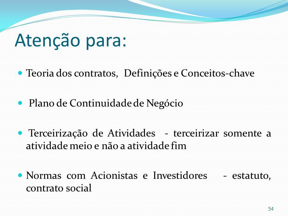 Atenção para: Teoria dos contratos, Definições e Conceitos-chave Plano de Continuidade de Negócio Terceirização de Atividades - terceirizar somente a