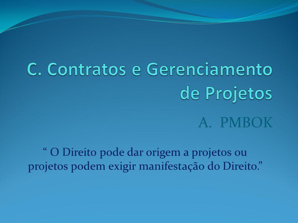 A. PMBOK O Direito pode dar origem a projetos ou projetos podem exigir manifestação do Direito.