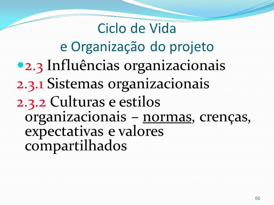 Ciclo de Vida e Organização do projeto 2.3 Influências organizacionais 2.3.1 Sistemas organizacionais 2.3.2 Culturas e estilos organizacionais – norma