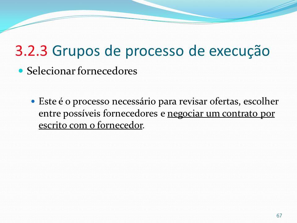 3.2.3 Grupos de processo de execução Selecionar fornecedores Este é o processo necessário para revisar ofertas, escolher entre possíveis fornecedores