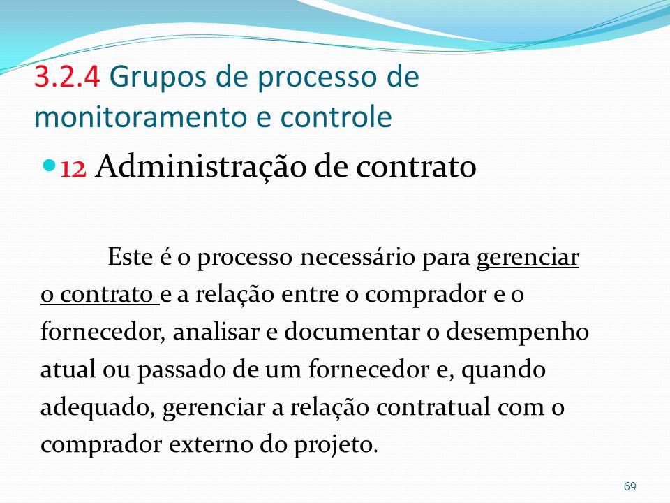 3.2.4 Grupos de processo de monitoramento e controle 12 Administração de contrato Este é o processo necessário para gerenciar o contrato e a relação e