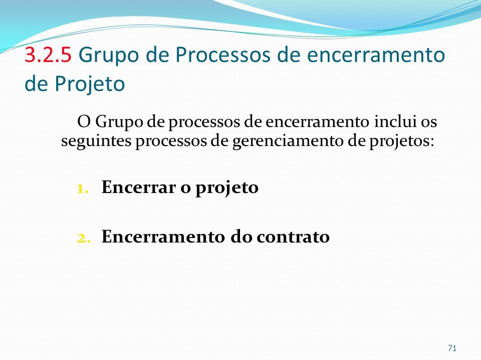 3.2.5 Grupo de Processos de encerramento de Projeto O Grupo de processos de encerramento inclui os seguintes processos de gerenciamento de projetos: 1