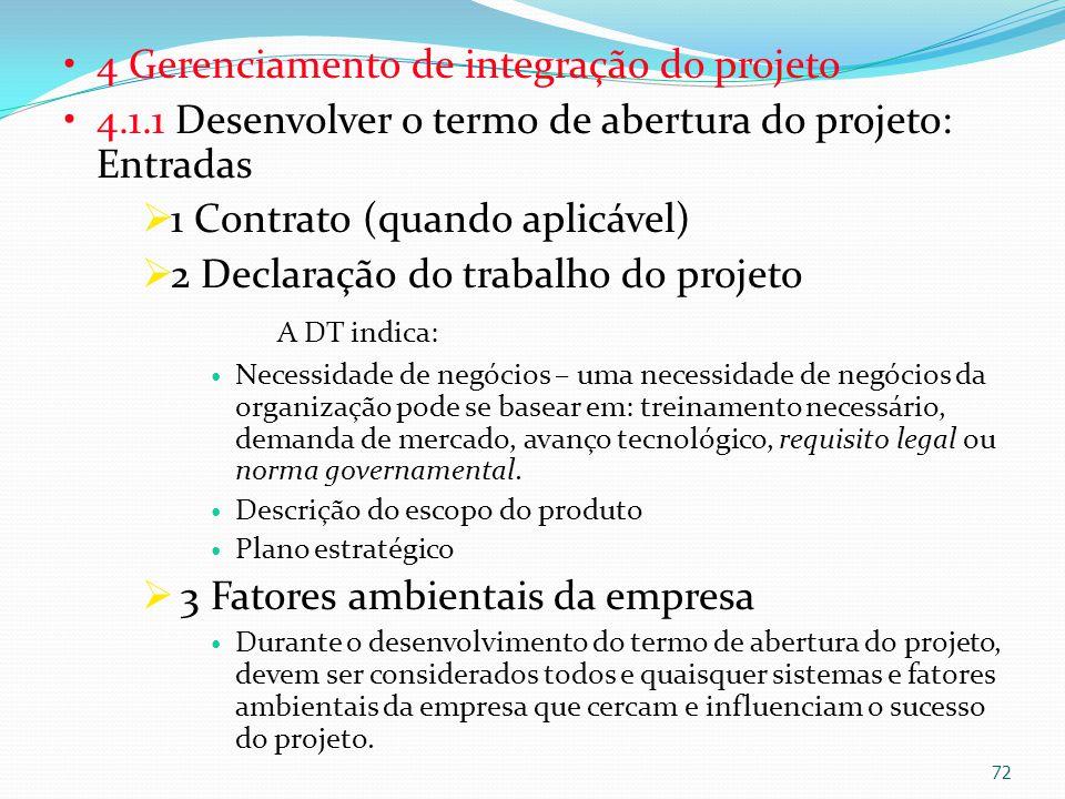 4 Gerenciamento de integração do projeto 4.1.1 Desenvolver o termo de abertura do projeto: Entradas 1 Contrato (quando aplicável) 2 Declaração do trab