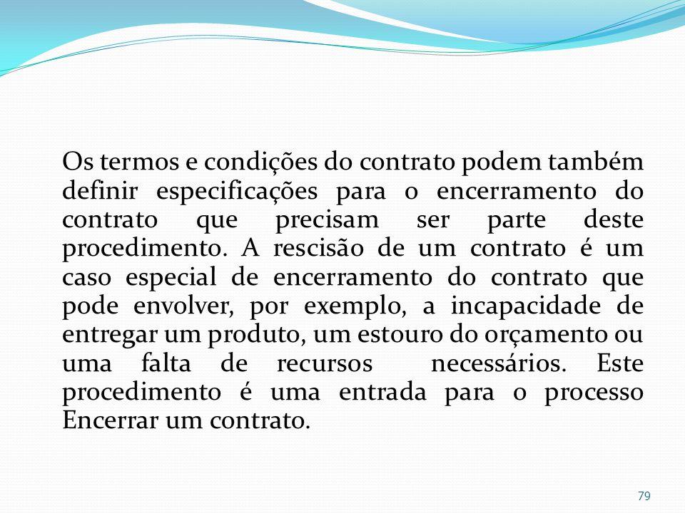 Os termos e condições do contrato podem também definir especificações para o encerramento do contrato que precisam ser parte deste procedimento. A res