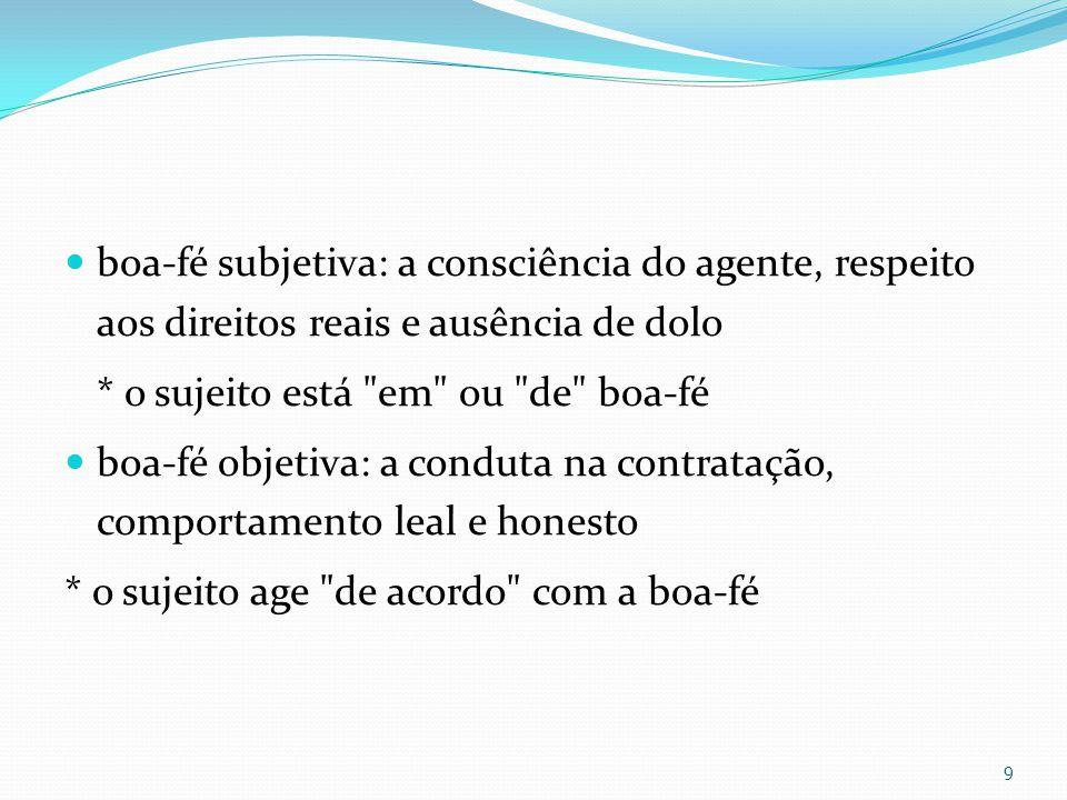 boa-fé subjetiva: a consciência do agente, respeito aos direitos reais e ausência de dolo * o sujeito está