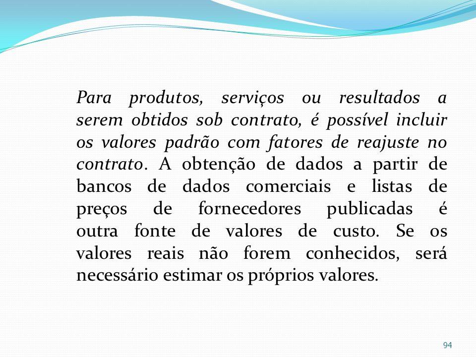 Para produtos, serviços ou resultados a serem obtidos sob contrato, é possível incluir os valores padrão com fatores de reajuste no contrato. A obtenç