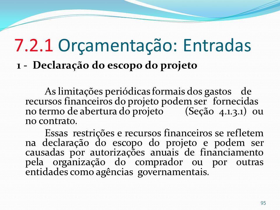 7.2.1 Orçamentação: Entradas 1 - Declaração do escopo do projeto As limitações periódicas formais dos gastos de recursos financeiros do projeto podem
