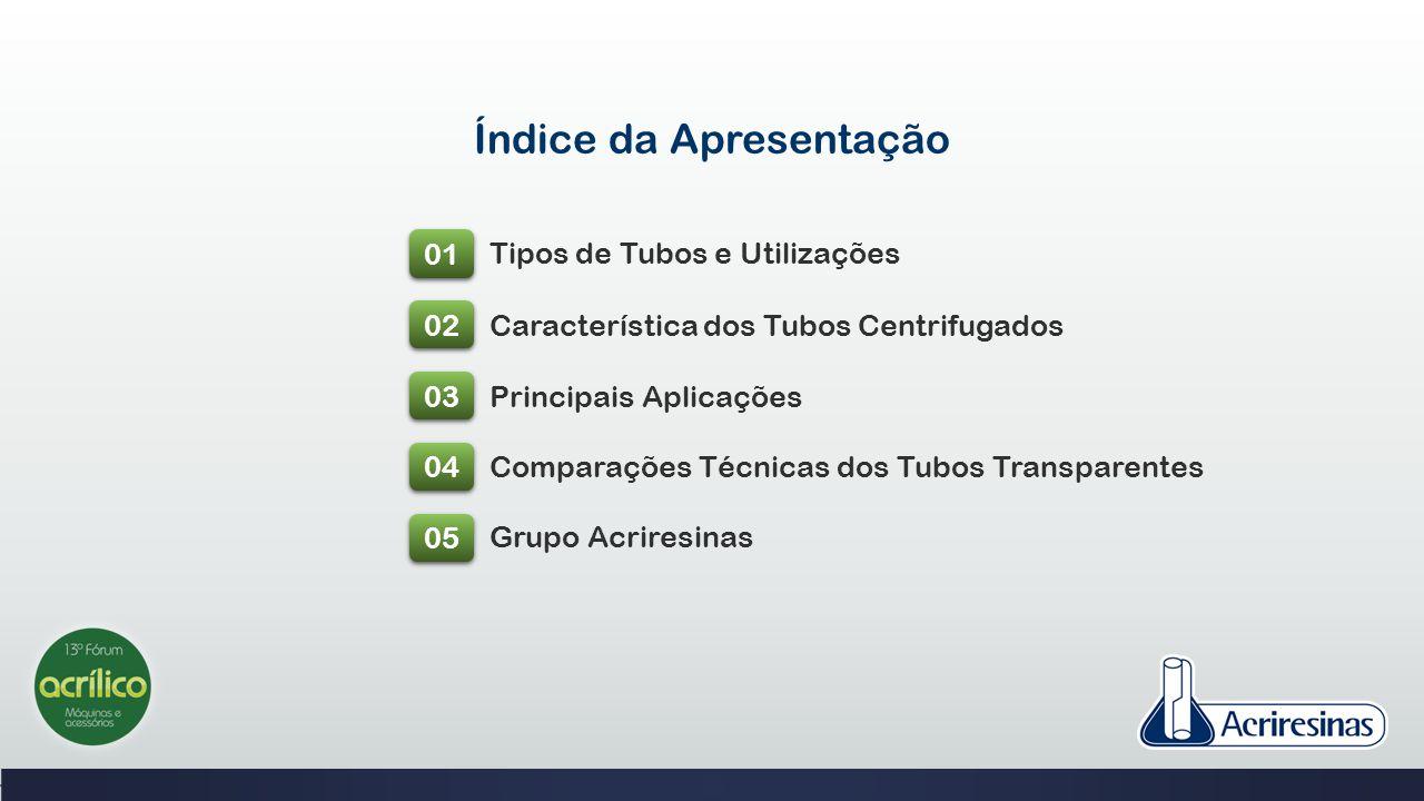 Índice da Apresentação 01 02 03 04 05 Tipos de Tubos e Utilizações Característica dos Tubos Centrifugados Principais Aplicações Comparações Técnicas d