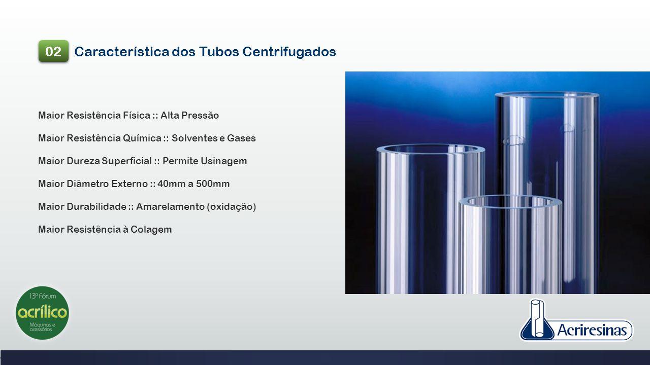 Característica dos Tubos Centrifugados 02 Maior Resistência Física :: Alta Pressão Maior Resistência Química :: Solventes e Gases Maior Dureza Superfi