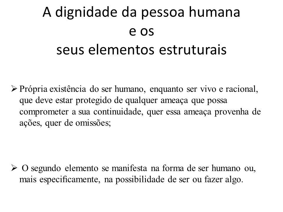 A dignidade da pessoa humana e os seus elementos estruturais Própria existência do ser humano, enquanto ser vivo e racional, que deve estar protegido