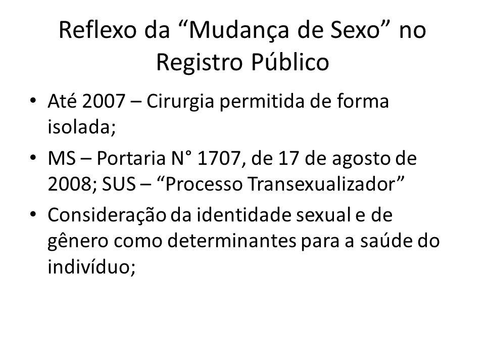 Reflexo da Mudança de Sexo no Registro Público Até 2007 – Cirurgia permitida de forma isolada; MS – Portaria N° 1707, de 17 de agosto de 2008; SUS – P