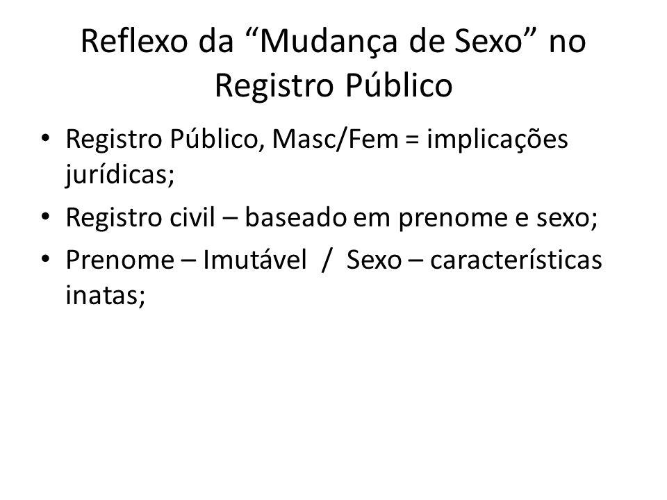 Registro Público, Masc/Fem = implicações jurídicas; Registro civil – baseado em prenome e sexo; Prenome – Imutável / Sexo – características inatas;