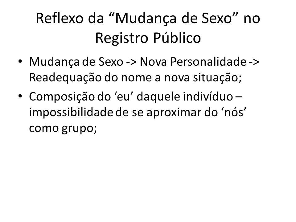Reflexo da Mudança de Sexo no Registro Público Mudança de Sexo -> Nova Personalidade -> Readequação do nome a nova situação; Composição do eu daquele