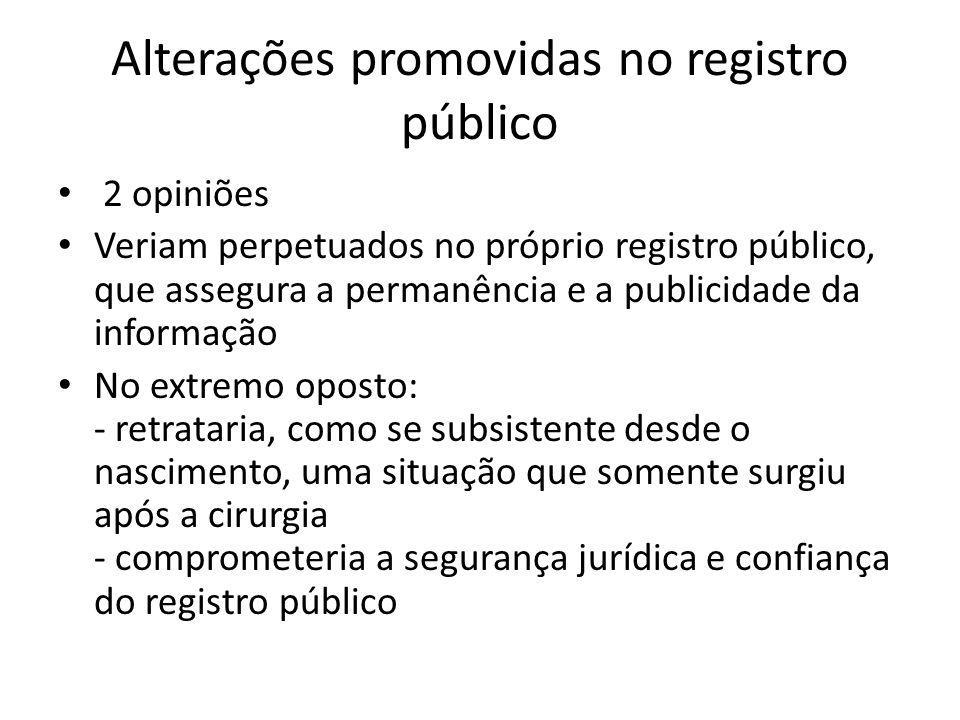 Alterações promovidas no registro público 2 opiniões Veriam perpetuados no próprio registro público, que assegura a permanência e a publicidade da inf