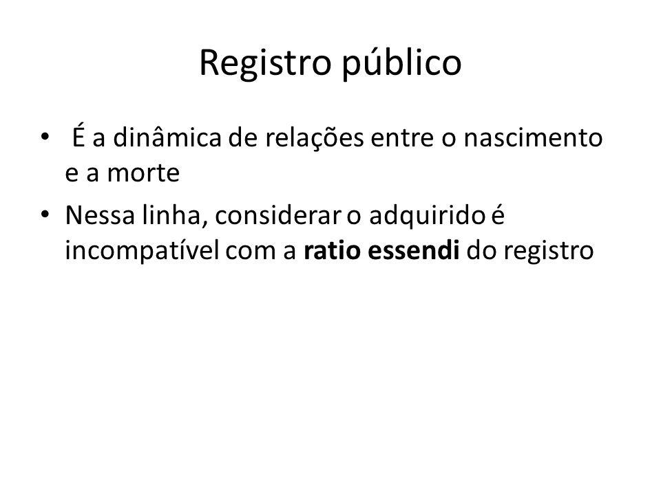 Registro público É a dinâmica de relações entre o nascimento e a morte Nessa linha, considerar o adquirido é incompatível com a ratio essendi do regis